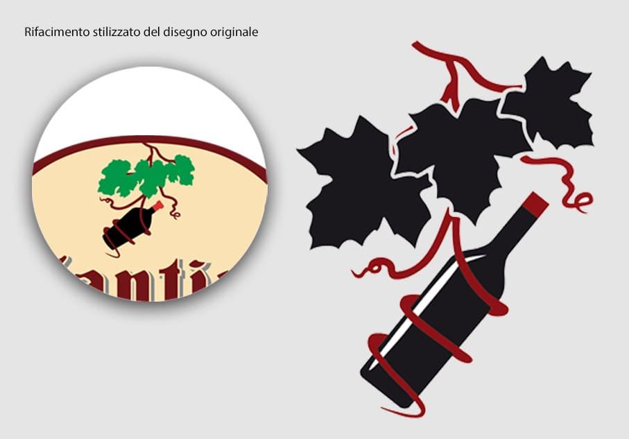 Rifacimento stilizzato disegno originale logo Antica Cantina Veneta