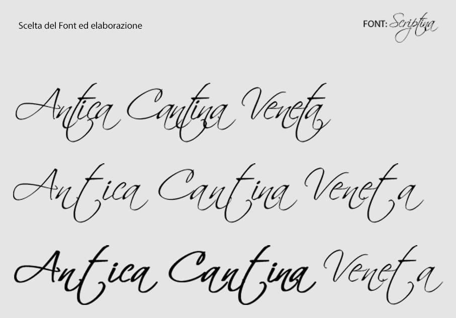 Scelta del font ed elaborazione logo Antica Cantina Veneta